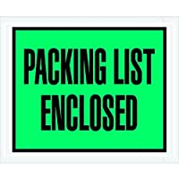 Aviditi PL404 Poly Envelope Legend PACKING LIST ENCLOSED 4-1/2 Length x 5-1/2 Width 2 mil Thick Green/Black on White (Case of 1000) [並行輸入品]