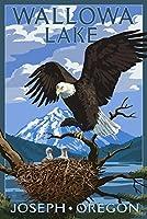 Joseph , Oregon–Wallowa湖Eagle and Chicks 12 x 18 Signed Art Print LANT-50375-708