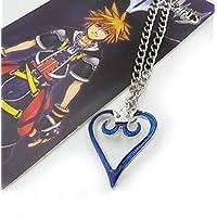 touirchアニメKingdom Heartsキーチェーンクラウンペンダントブルーハートネックレス