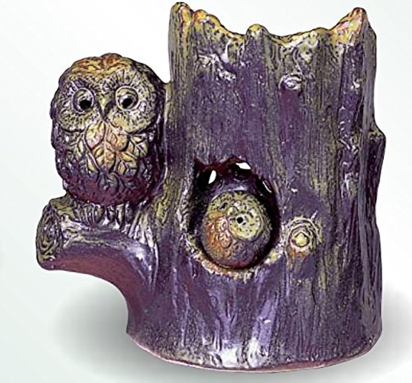 レイア横たわるタイル常滑焼 茶香炉(アロマポット)森フクロウ 径13.5×高さ14.5cm