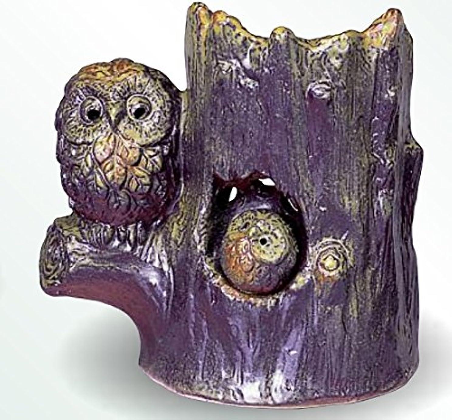 本能不透明なくま常滑焼 茶香炉(アロマポット)森フクロウ 径13.5×高さ14.5cm
