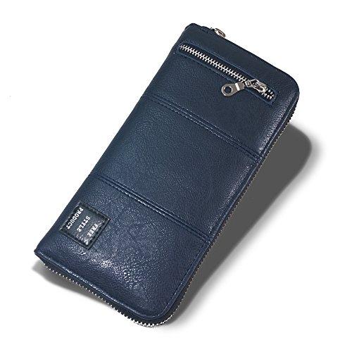 PANDORA(パンドラ) 長財布 メンズ ラウンドファスナー 財布 取り出しやすい 改良版 小銭入れ カード14枚収納 全3色 【正規品】 PW-013 (NAVY)