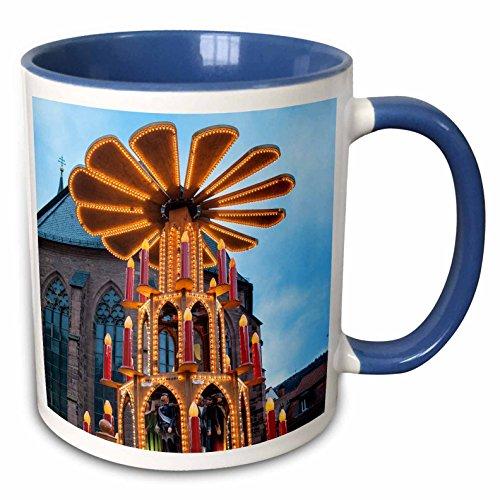 3drose Danita Delimont???Jim Engelbrecht???Decorations???ピラミッドGluhweinブースクリスマス、市場、ハイデルベルク、ドイツ???マグカップ 11-oz Two-Tone Blue Mug mug_188546_6