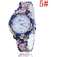 Women's Fashion Geneva Flower Print Style Analog Quartz Wrist Watch Bracelet,Ladies Fashion Watch Features Floral Print and Vintage Design WatchBand