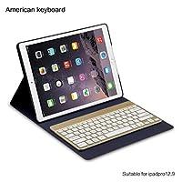 Bluetoothキーボードケース iPad Pro 12.9対応 ベーシックストック内蔵ワイヤレスBluetoothキーボードスリムシェル磁気フリップカバー(ダークブルー)