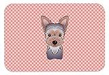 Caroline 's Treasures CheckerboardピンクYorkie Puppyマウスパッド/ホットパッド/五徳( bb1232mp )