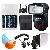 Canonスピードライト470ex-ai + Offカメラフラッシュコード+ 4AA充電式電池&ホワイト充電器+ユニバーサルソフトフラッシュディフューザー+ 3色付きフラッシュDiffusers–デラックスフラッシュアクセサリーバンドル