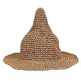 ノーブランド品  全9色 子供 キッズ とんがり帽子 幅広い ビーチ 麦わら 帽子 バイザー サンハット キャップ - コーヒー