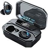 【2019令和最新版5000mAh Bluetooth5.0 イヤホンブルートゥースチップ 採用 LEDディスプレイ 】Bluetooth イヤホン Bluetooth5.0+EDR搭 載 ワイヤレスイヤホン IPX7完全防水 電池残量インジケーター付き Hi-Fi 高音質 AAC対応 自動ON/OFF ボリューム調節可能 自動ペアリング マイク付き 両耳 左右分離型 二台接続可能 240時間連続駆動 技適認証済/Siri対応/ iPhone & Android対応