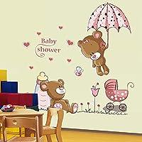 DIY Cute Teddy Bear Pink Flowers Wall Sticker Decals Kids Mural Nursery Decor