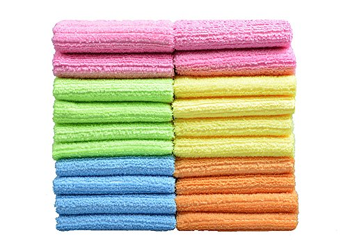 SINLAND 多目的 家庭 用 吸水 速乾 マイクロ ファイバー クリーニング クロス 洗車 タオル キッチン 掃除 タオル 雑巾 (20枚, 30cmx30cm)