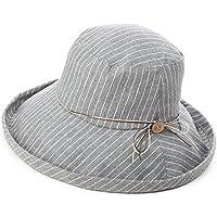 SIGGI Womens UPF50+ Summer Sunhat Cotton Bucket Packable Crushable Foldable Wide Brim Hats w/Chin Cord Grey