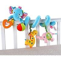 Davcor Moring ベビーカー用おもちゃ ベビーベッド用 スパイラル アクティビティ ぬいぐるみ 布製玩具 渦巻き ぶら下げ 可愛い 柔らかい 音が鳴る ブルー 象