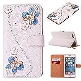 iPhone6s ケース スマホケース iphone6 かわいい パンダ 手帳型 上品で可愛いと人気 の 合皮 PU レザー スマホ カバー 3D ラインストーンビジュー パール お洒落 女性 レディース 用 キラキラデコ 可愛い 蝶々 ブルー ストラップ付き カード収納可能 スタンド機能付 アイフォン6s ケース カバー 超軽量 耐衝撃 (iphone 6/6s, S型蝶)