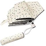 SEHOO晴雨兼用傘 UV レディース かわいい 自動 開閉 軽量 折り畳み傘 大きい 軽量楽々 耐強風 超撥水 収納ポーチ付き おしゃれ(アイボリ)