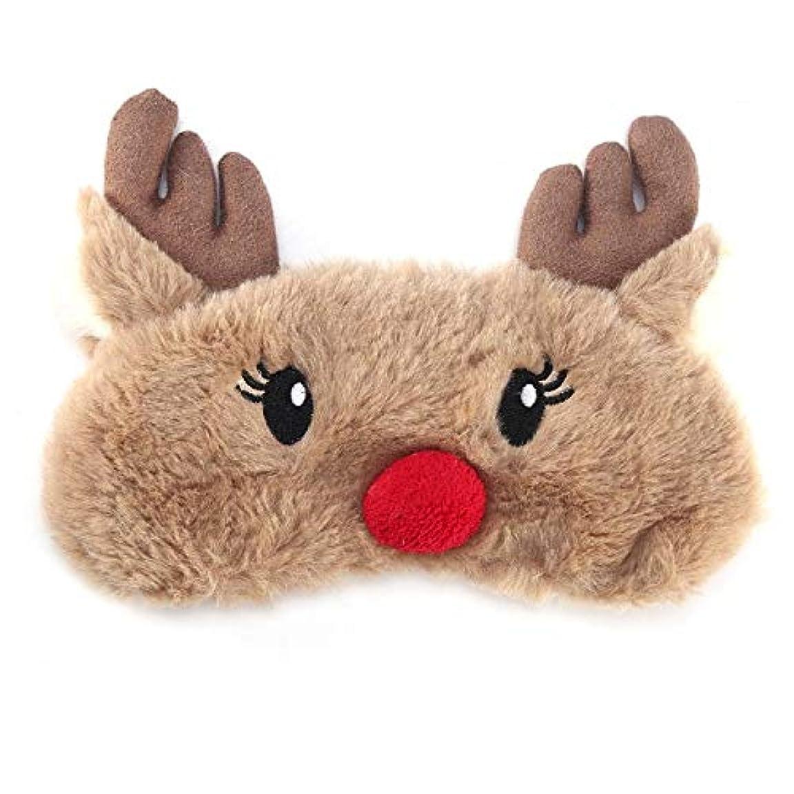 大胆な妨げる病者NOTE かわいいアニマルアイカバースリーピングマスクアイパッチ包帯目隠しクリスマス鹿冬漫画昼寝アイシェードぬいぐるみスリーピングマスク