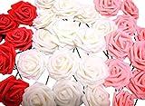 バラ 造花 50個 茎付き 8cm セット 手作り アレンジメント 結婚式 パーティー お祝い に(オフホワイト×赤×ピンク)