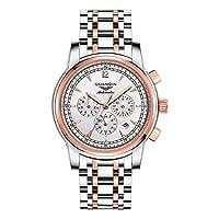 GUANQIN メンズ ステンレススチール ビジネス ウォッチ オス 自動巻き 機械式 アナログ 腕時計 カレンダー 夜光 防水 時計 (ゴールドホワイト)