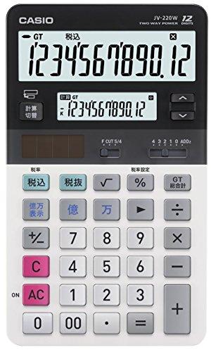 カシオ ツイン液晶電卓 ジャストタイプ 12桁 JV-220W-N