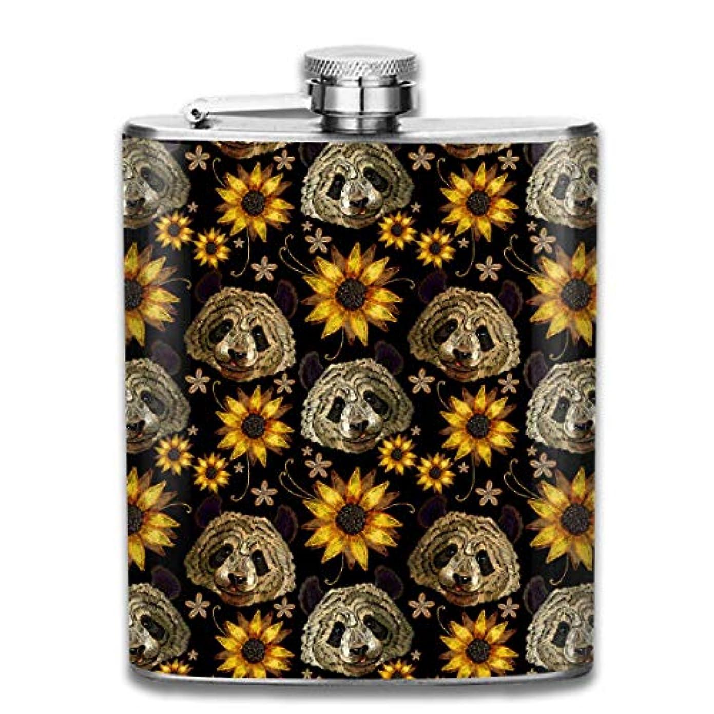 建築美しい軽くパンダとひまわりフラスコ スキットル ヒップフラスコ 7オンス 206ml 高品質ステンレス製 ウイスキー アルコール 清酒 携帯 ボトル