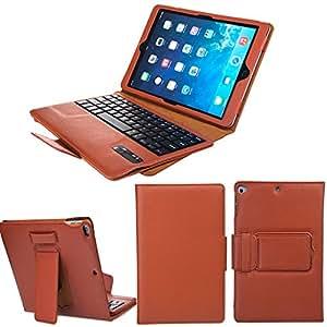 【F.G.S】ブラウン iPad Air2 キーボード カバー付き Bluetooth ワイヤレスキーボード キーボード分離可能なデザイン【全四色】 F.G.S正規代理品