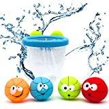Bath Toy Ball Basket Kids and Toddlers Gift Set Interactive Multicolor Basketball Hoop for Boys and Girls Bathtub
