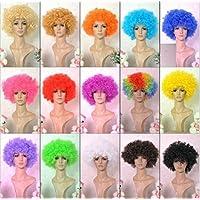 ボンバー アフロ ウィッグ ネット 収納バッグ セット /パーティー コスプレ 仮装 衣装 ハロウィン コスチューム (ベネディモール) Bene di mall (フルセット 青)