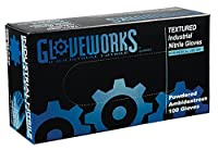 AMMEX - IN46100- Nitrile Gloves - Gloveworks - Disposable,Powdered,Industrial,5 mil,Large,Blue (Case of 1000) [並行輸入品]