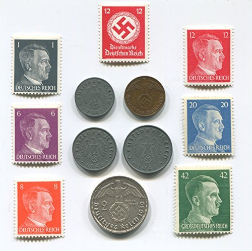 Ultimate Nazi World War Two WW2 German Coin Swastika Coins and Hitler Stamp Set / Collection [並行輸入品]