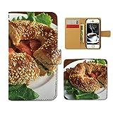 Tiara らくらくスマートフォン4 F-04J スマホケース 手帳型 食べ物 ファストフード パン サラダ 手帳ケース カバー [F025902_05]