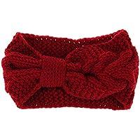 Domybest 子供ヘアバンド 秋冬 編み物 コットンのベルト かわいいボウタイを飾る 誕生日 百日記念 出産祝い 写真小道具 1-5歳に適して 良い弾力性 暖かく保つ 3色
