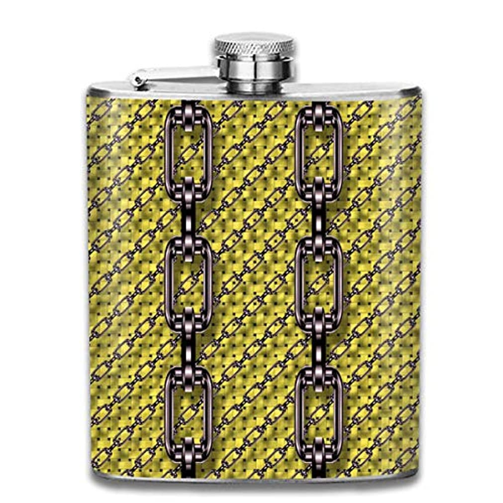 スロージョットディボンドン征服する鎖フラスコ スキットル ヒップフラスコ 7オンス 206ml 高品質ステンレス製 ウイスキー アルコール 清酒 携帯 ボトル