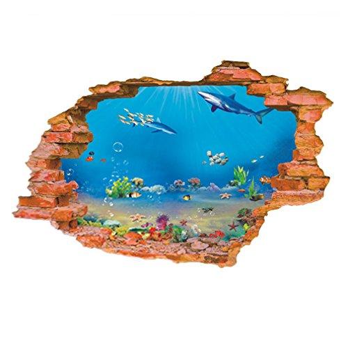 EOZY 水族館 壁紙シール リビング 寝室に最適 3D 立体 かざり 壁穴から覗く 海底世界 部屋デコレーション シイラ 子供部屋 お風呂にもOK 海洋世界