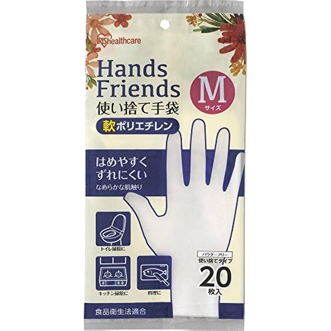 コマンド混乱したラップ使い捨て手袋 軟ポリエチレン手袋 Mサイズ 粉なし パウダーフリー クリア 20枚入
