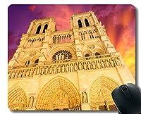 長方形のマウスパッド、空ノートルダム大聖堂教会日没容赦のないラバーマウスパッドステッチエッジ