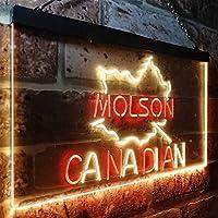 Molson Canadian Beer Bar LED看板 ネオンサイン バーライト 電飾 ビールバー 広告用標識 レッド+イエロー W30cm x H20cm