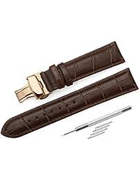 [イストラップ]iStrap 13mmカーフレザー腕時計バンドストラップ ローズゴールデンDバックル尾錠付き ブラウン