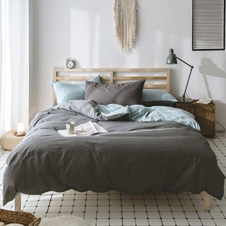 Kexinfan キルト カバー ウォッシュドコットン 4点セット コットン コットン コットン ニット コットン 寝具 シーツ B 2.0M (6.6 フィート) ベッド