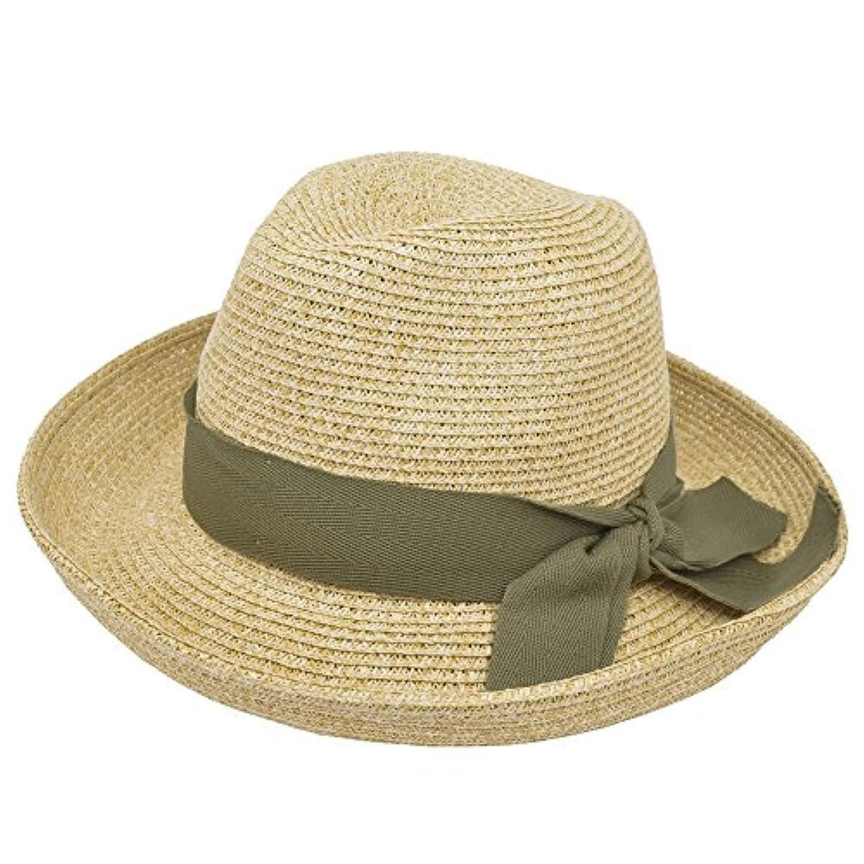 【ノーブランド品】 no brand (リボンカラー:カーキ) やわらか ペーパー つば広 中折れハット レディース 軽量素材 ハット サイズ調整可能 UV対策 春 夏 リゾート