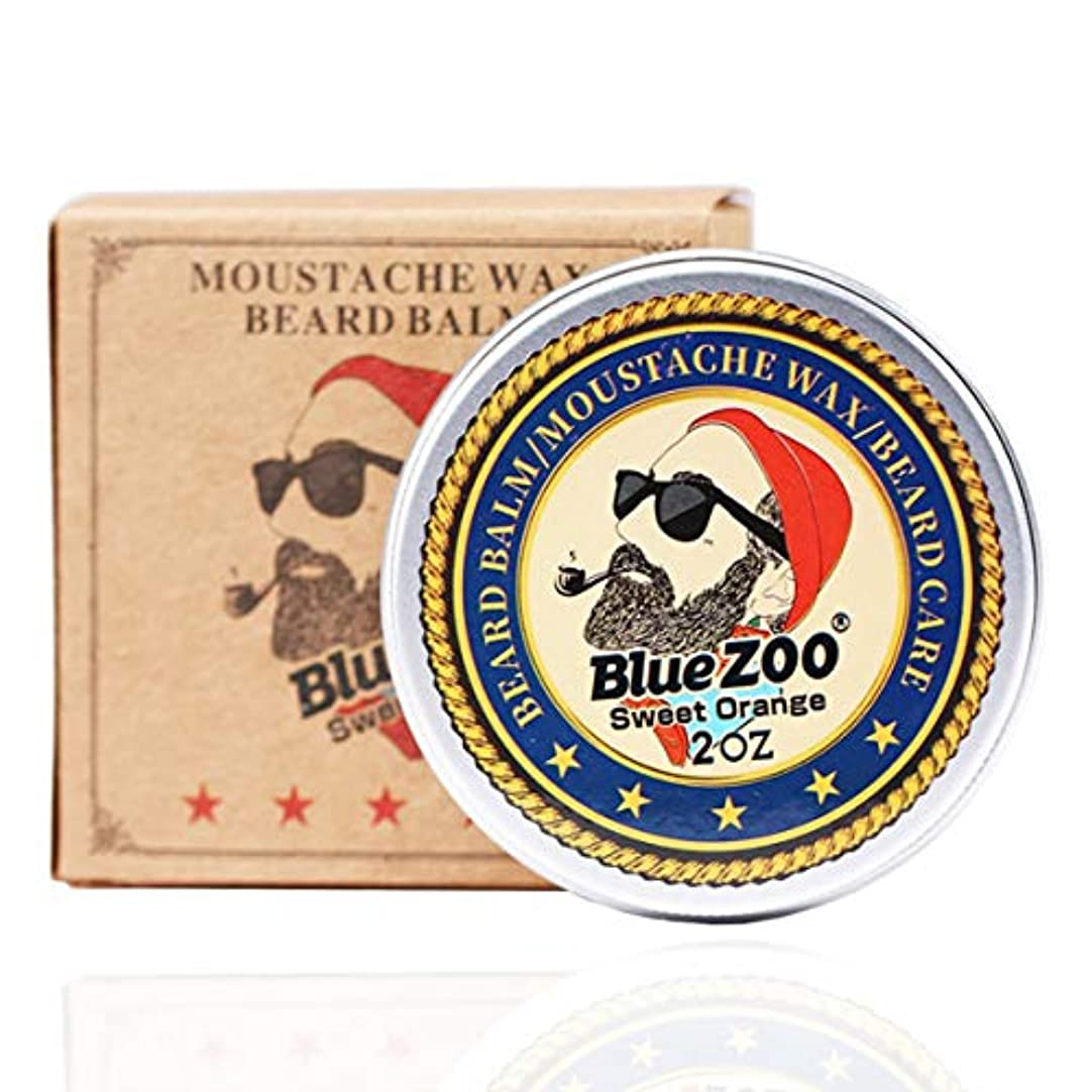 甲虫地上でラインポータブルサイズ男性髭オイルバームヒゲワックススタイリング用蜜蝋保湿スムージング紳士髭ケア - ベージュイエロー