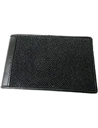 Drumsurn Imports Genuine Stingrayレザー二つ折りクレジットカード財布、ブラック