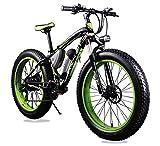 VTSP 012 17×26インチ マウンテンバイク アルミフレーム電動自転車シマノ7段変速 (ブラック×グリーン)