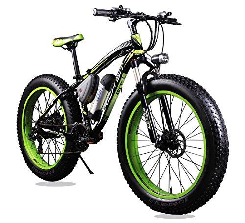 VTSP 012 17×26インチ マウンテンバイク アルミフレーム電動自転車シマノ21段変速 (ブラック×グリーン)