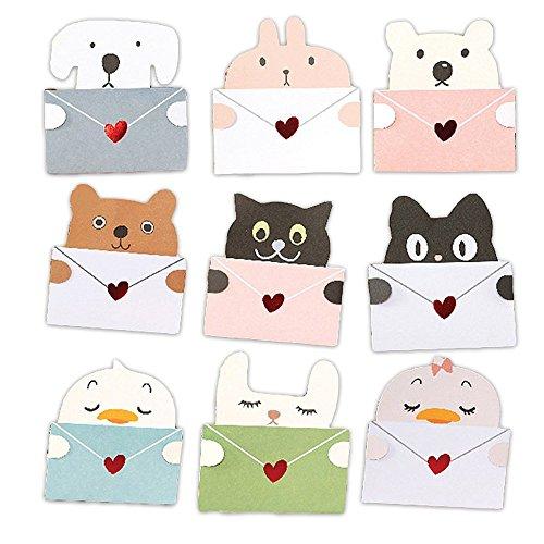 (moin moin) メッセージ カード 動物 アニマル 9種セット メッセージを抱える メッセージカード 封筒付 (犬/ひよこ / ひよこ2 / 熊 (くま) / 猫(ねこ) / 猫2 / しろくま/ピンクうさぎ / しろうさぎ)