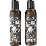 Viking Revolution Beard Wash & Beard Conditioner Set w/Argan & Jojoba Oils – Softens, Smooths & Strengthens Beard Growth - Natural Peppermint and Eucalyptus Scent - Beard Shampoo w/Beard Oil (5 oz)