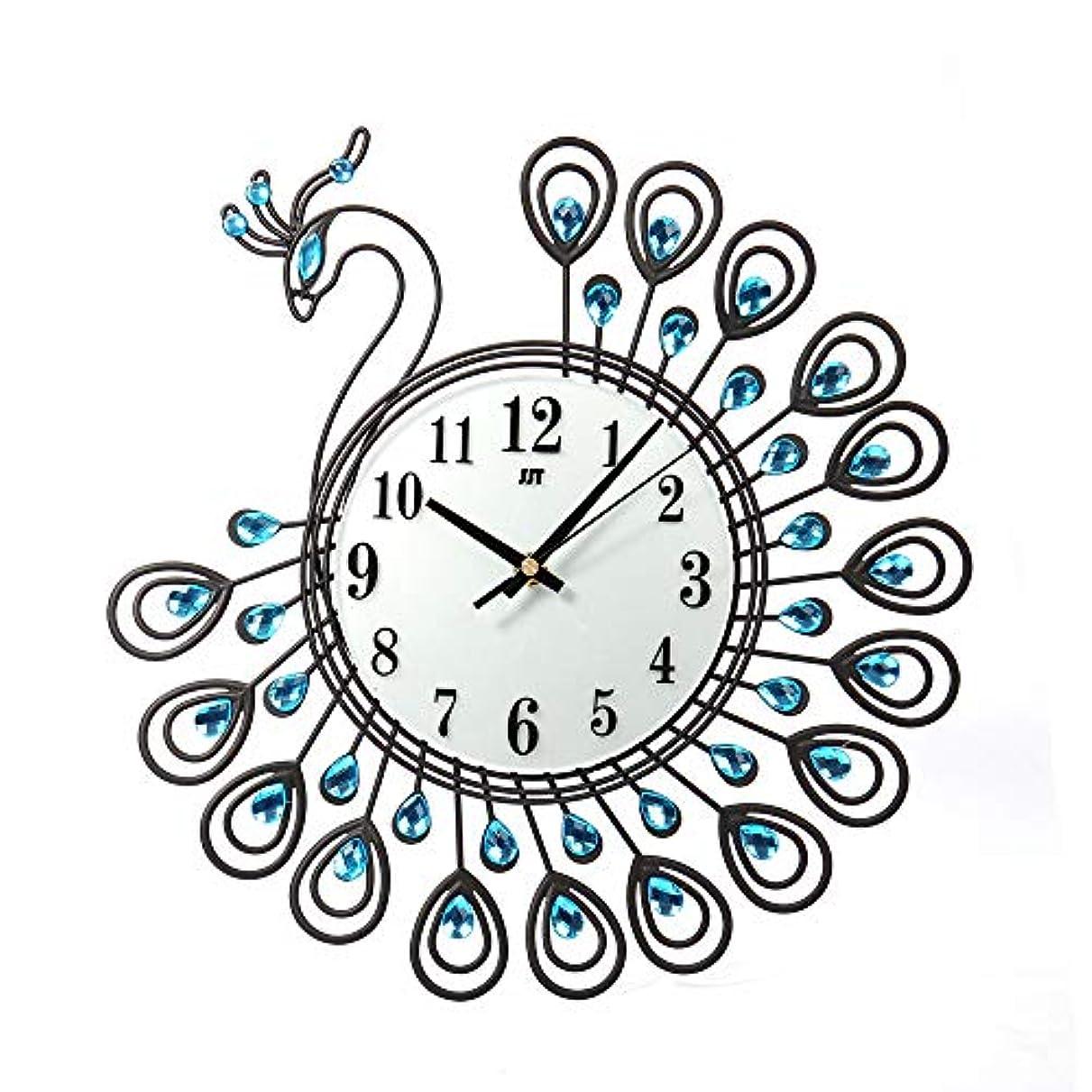 シャベルメンテナンス頬ルームオフィスのための壁時計の金属のラインストーンの家の装飾の孔雀の時計 (ブラック)