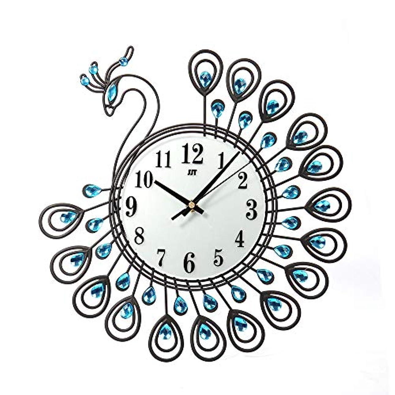 ラップダース科学者ルームオフィスのための壁時計の金属のラインストーンの家の装飾の孔雀の時計 (ブラック)