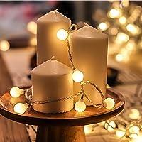 LEDライトストリング、3メートル防水妖精ライトストリングストリングライトバッテリー、ガーデンクリスマスツリーウェディングパーティーライト(リモートコントロールウォームライト)