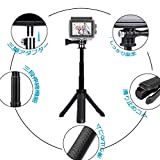 HITEI GoPro アクセサリー 三脚スタンド 自撮り棒 GoProハンドル ミニセルカ棒 スマホホルダー付き 1/4ネジ付き アクションカメラ 一脚 三脚 GoPro hero7/hero6/hero5/hero4/muson/OSMO ACTION 及びほとんどのアクションカメラ対 応 (ブラック) 画像
