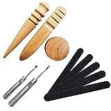 レザークラフト工具 木製 コーンスリッカー 3点セット + サンドスティック 5枚セット18cm...